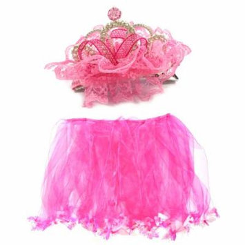 Wrapables® Little Girls Fairy Tiara Hair Clip and Tutu Set O/S, Hot Pink