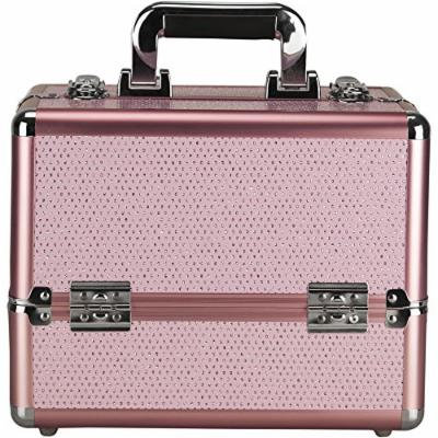 Sunrise 4 Tiers Expandable Trays Makeup Train Case Shoulder Strap Key-Lock, Pink Krystal