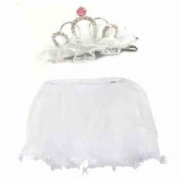 Wrapables® Little Girls Fairy Tiara Hair Clip and Tutu Set O/S, White