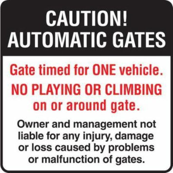 Automatic Gate/Timed One Vehicle Gate Sign, Reflective, 24 X 24