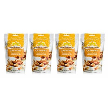 Sunshine Nut Company 'Sprinkling of Salt' Cashews, Peanut Free, Gluten Free, GMO Free, 7 oz, Pack of 4