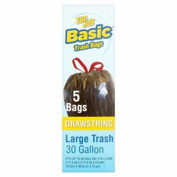 Basic Top Job Drawstring Large Trash Bags, 30 gallon, 5 count