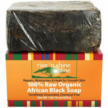 Raw African Black Soap with Coconut Oil and Shea Butter - Body Wash, Shampoo and Face Wash - Helps Clear Dry Skin, Acne, Eczema, Psoriasis - Authentic Organic Homemade Soap Bar from Ghana (16 oz)