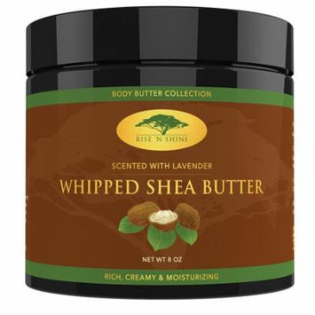 Lavender Whipped African Shea Butter Cream - Pure 100% Raw All Natural Organic Moisture for Soft Skin and Natural Hair - Body Butter Improves Blemishes Stretch Marks Scars Wrinkles & Eczema (8 oz)