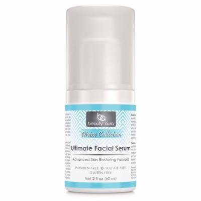 Beauty Aura Ultimate Facial Serum (with DMAE, Vitamin C, CoQ10, ALA, Meadowfoam, Carrot Seed oil) 2 oz