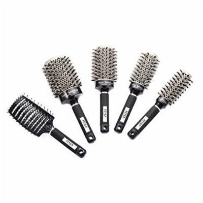 Xenia Paris Heat Activated Ceramic Professional Ionic Hair Brush Bundle, 5 Piece