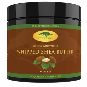 Vanilla Whipped African Shea Butter Cream - Pure 100% Raw All Natural Organic Moisture for Soft Skin and Natural Hair - Body Butter Improves Blemishes Stretch Marks Scars Wrinkles & Eczema (8 oz)
