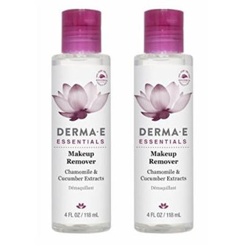 Derma E All Natural Organic Makeup Remover, Fragrance Free, Removes Waterproof Mascara, Eye Liner, Transferproof Lipstick and Long-Lasting Face Makeup With Cucumber and Chamomile, 4 oz. (Pack of 2)