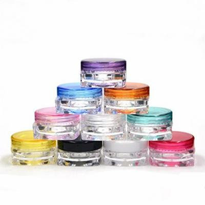 10 Grand Parfums 3g gram Colored Caps on Clear Jars, 3mL Empty Cosmetic Jars Lip blam, Lip Gloss, Clear with Colorful Lids