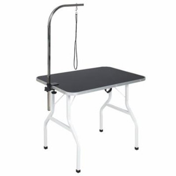 Best Choice Products Folding Pet Grooming Table w/ Adjustable Arm, Removable C-Clamp, & Heavy Duty Rope - Black/Gray
