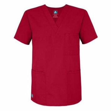 Adar Universal Unisex V-Neck Tunic Top 3 Pockets - 601 - Red - XS