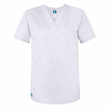 Adar Universal Unisex V Neck Tunic 1 Pocket (Available in 16 colors) - 6011 - White - 4X