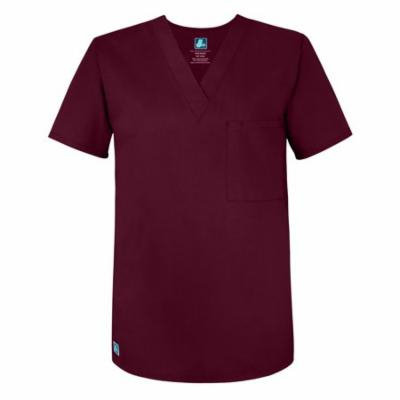 Adar Universal Unisex V Neck Tunic 1 Pocket (Available in 16 colors) - 6011 - Burgundy - M
