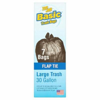 Basic Top Job Flap Tie Large Trash Bags, 30 gallon, 7 count