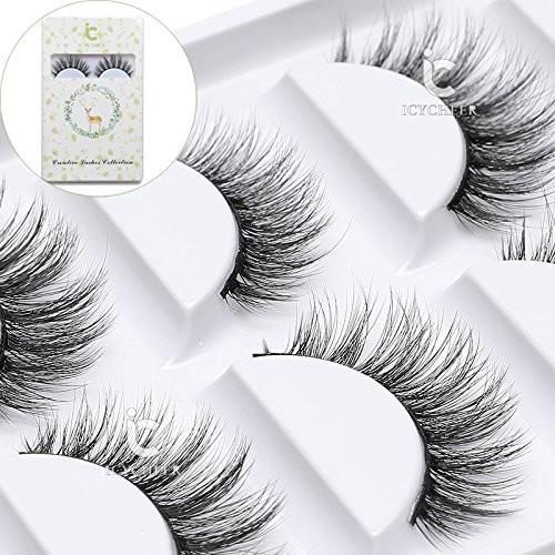 ICYCHEER Makeup Cosmetics 5 Pairs/Box Real Mink 3D False Eyelashes 100% Siberian Mink Fur Natuarl Long Thick Fake Eyelashes Handmade