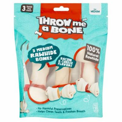 Throw Me A Bone Bacon and Cheese Flavor Medium Rawhide Bones, 3 count