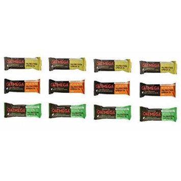 Oatmega Bars, Variety . Pack of 12 ,3 Flavors ,( 4 Vanilla Almond Crisp, 4 Chocolate Mint Crisp , 4 Chocolate Peanut Crisp)