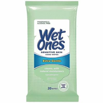 WET ONES Sensitive Skin Hand Wipes, Extra Gentle Unscented 20 ea (Pack of 2)