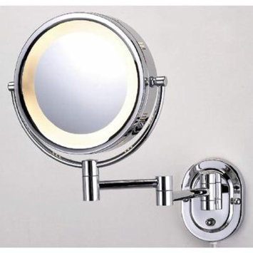 See All 8 in. Round Lighted Wall Mounted 5X Magnification Make Up Mirror in Chrome