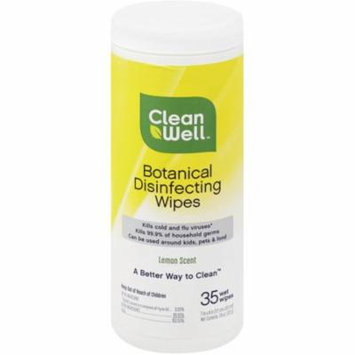 CleanWell Botanical Disinfecting Wipes, Lemon Scent 35 ea (Pack of 6)