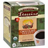 Teeccino Herbal Coffee Chocolate Dark Roast - 10 Tea Bags - Case of 6 - 95%+ Organic - Gluten Free - Dairy Free -