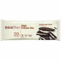 Think Thin High Protein Bar, 2.1 oz bars, Cookies & Cream, 10 bars (Pack of 4)