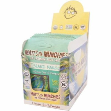 Matt's Munchies Organic Fruit Snack, Island Mango, 1 oz bags, 12 bags (Pack of 6)