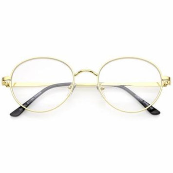 sunglassLA - Classic Metal Frame Slim Temple Clear Lens Round Eyeglasses 53mm (Gold / Clear) - 53mm