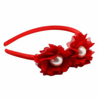 Red Colored Hairband With Faux Pearl Flower Duet