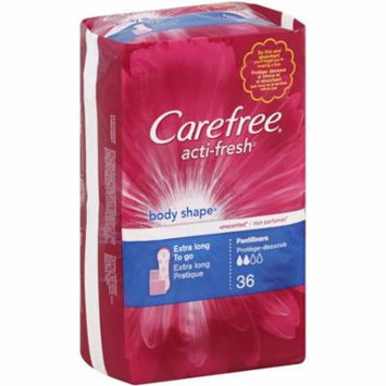 CAREFREE Acti-Fresh Body Shape Extra Long To Go Pantiliners, Unscented 36 ea (Pack of 4)