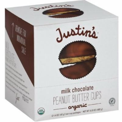 Justin's Organic Peanut Butter Cups, Milk Chocolate 1.4 oz, 12 count (Pack of 2)