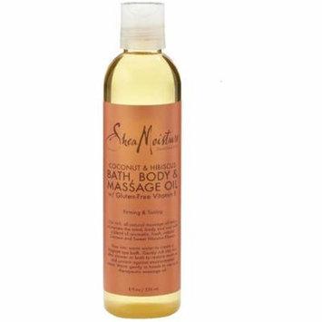 Shea Moisture Coconut & Hibiscus Bath, Body & Massage Oil 8 oz (Pack of 6)