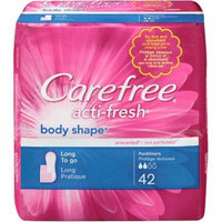 CAREFREE Acti-Fresh Body Shape Long To Go Pantiliner, Unscented 42 ea (Pack of 2)