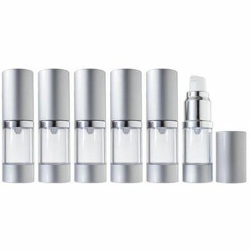 Airless Pump Bottle Refillable Travel Container - 10 ml / 0.34 oz (6 Pack)