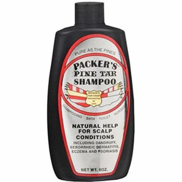 4 Pack Packers Pine Tar Shampoo Natural Help for Scalp Conditions 8 oz Each