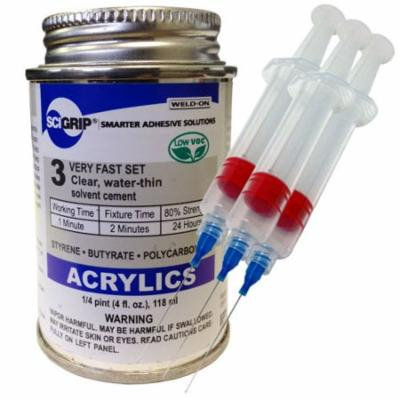 Weld-On 3 Acrylic Adhesive - 4 Oz and 3 Pack of Weld-on 25-Gauge Precision Syringe Applicator