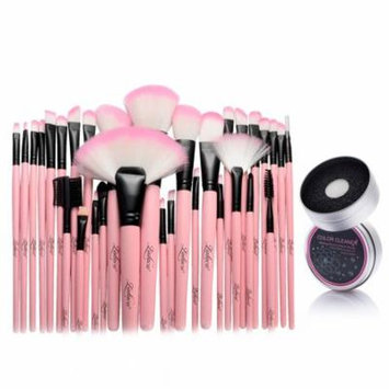 32pcs Pink Makeup Brushes Kit Set with Cosmetic Makeup Case Pouch Bag + Switch Duo Sponge Color Cleaner (2-in-1 Accessory Bundle) by Zodaca