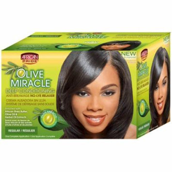 African Pride Olive Miracle Deep Conditioning Anti-Breakage No Lye Relaxer, Regular 1 ea (Pack of 4)