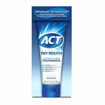 5 Pack Act Dry Mouth Anticavity Fluoride Toothpaste Soothing Mint 4.6 Oz Each