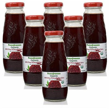 100% Pomegranate Juice - 6 Pack ,6.76Fl Oz - USDA Organic Certified - Glass Bottle - No Sugar Added - No Preservatives - Squeezed From Fresh Pomegranates