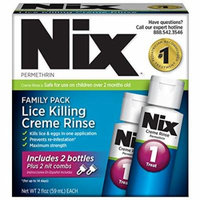 6 Pack NIX Permethrin Lice Killing Cream Rinse Family Pack 2x2 Oz Each