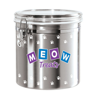 Oggi 8315 Jumbo Airtight Stainless Steel Pet Treat Canister with Meow Treats Motif-Clear Acrylic Flip-Top Lid and Locking Clamp Closure, 130 oz, Silver