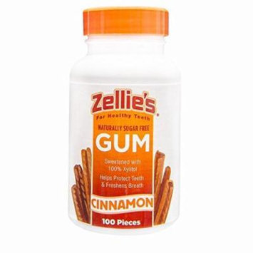 5 Pack Zellies Cinnamon Gum Naturally Sugar Free Xylitol 100 Count Each