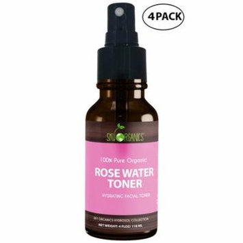 Organic Rose Water Toner by Sky Organics 4oz (4 pack)-100% Pure, Organic Distilled Rosewater Toner Face & Hair - Facial Cleanser -Preps Dry & Acne Prone Skin for Serums, Moisturizers & Makeup