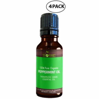 Best Peppermint Essential Oil By Sky Organics-100% Organic, Peppermint Oil, Diffusers, Aromatherapy, Massage, Allergies, Headaches & Bath 1oz (4 Pack)