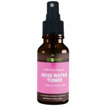 Organic Rose Water Toner by Sky Organics 4oz -100% Pure, Organic Distilled Rosewater Toner Face & Hair - Facial Cleanser -Preps Dry & Acne Prone Skin for Serums, Moisturizers & Makeup