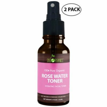 Organic Rose Water Toner by Sky Organics 4oz (2 pack)-100% Pure, Organic Distilled Rosewater Toner Face & Hair - Facial Cleanser -Preps Dry & Acne Prone Skin for Serums, Moisturizers & Makeup