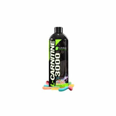 NutraKey Liquid L-Carnitine 3000, Sour Gummy Worms, 31 Servings