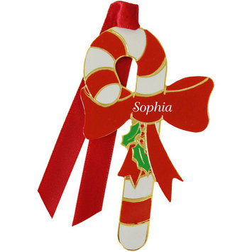 Gloria Duchin Enamel Candy Cane Ornament, Girl