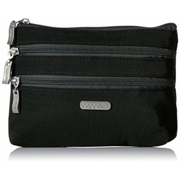 Baggallini 3 Zip Cosmetic Case, Black/Charcoal